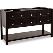 """58"""" double vanity base with Black finish, clean lines, and complementary satin nickel hardware."""