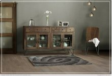 2 Drawer w/4 Glass Doors Console