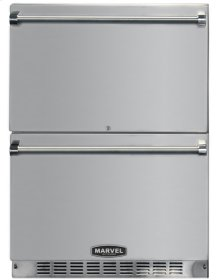 "24"" Marvel Outdoor Refrigerated Drawers, All STAINLESS STEEL exterior and PRO handle, Door Lock"