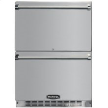 """24"""" Marvel Outdoor Refrigerated Drawers, All STAINLESS STEEL exterior and PRO handle, Door Lock"""