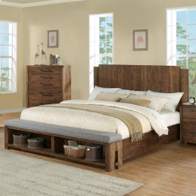 Terra Vista - Queen Upholstered Bench Footboard - Casual Walnut Finish