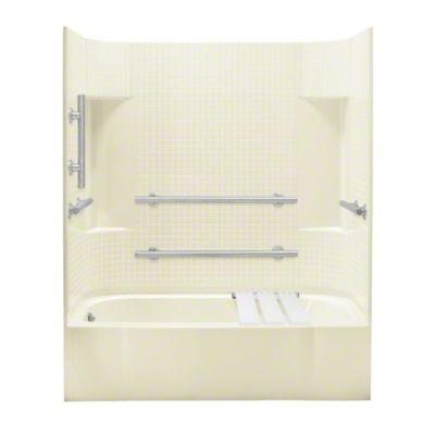 "Accord®, Series 7114, 60"" x 30"" x 74-1/4"" ADA Tile Bath/Shower - Left-hand Drain - KOHLER Biscuit"