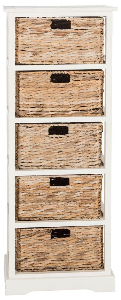 Vedette 5 Wicker Basket Storage Tower - Distressed White