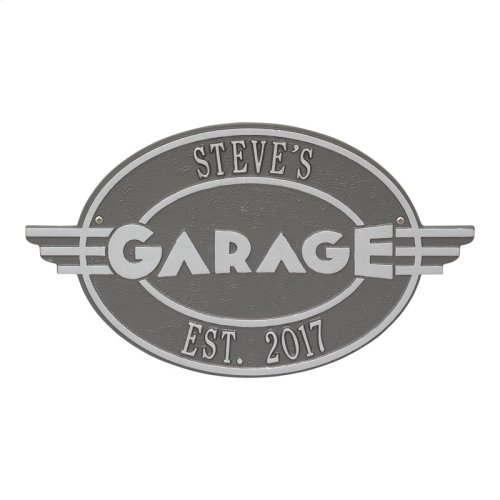 Moderno Garage Personalized Plaque - Pewter/Silver