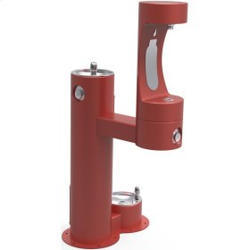 Elkay Outdoor EZH2O Bottle Filling Station Bi-Level, Pedestal with Pet Station Non-Filtered Non-Refrigerated Red