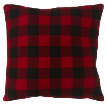 Oversized Buffalo Plaid Knit Floor Pillow with Leather Handle.