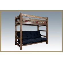 Homestead Twin Bunk Bed over Full Futon - Stained and Lacquered