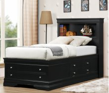 Black Lp Storage Bed - King Size
