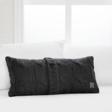 Cable-Knit Throw Pillow with Decorative Button - Gray