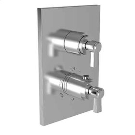 """Weathered Copper - Living 1/2"""" Square Thermostatic Trim Plate with Handle"""