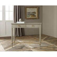 Small Modernist Console, Painted Antique Grey With Gold Leaf Detail.