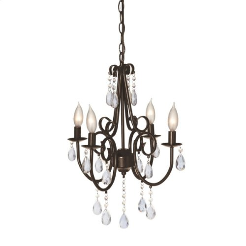 Small Antique Brown Jeweled Chandelier. 25W Max.