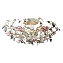 Heritage 3-Light Semi Flush in Cream with Porcelain Roses and Crystal