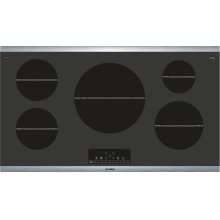 """800 Series 36"""" Induction Cooktop 800 Series - Black with Stainless Steel Strips NIT8668SUC"""