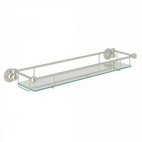 Polished Nickel Perrin & Rowe Edwardian Wall Mount Tempered Glass Vanity Shelf