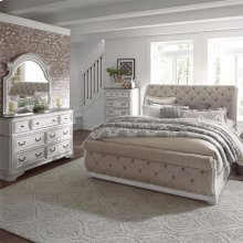 Queen Uph Sleigh Bed, Dresser & Mirror, Chest