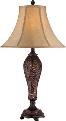 Table Lamp - ANT.BROZNE/L.BEIGE Fabric Shade, E27 Cfl 23w Product Image