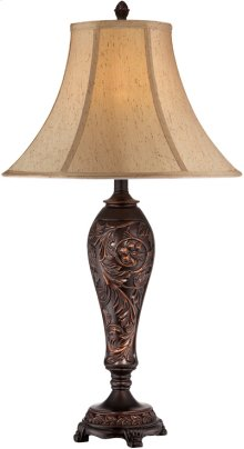 Table Lamp - ANT.BROZNE/L.BEIGE Fabric Shade, E27 Cfl 23w