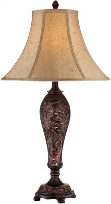 Table Lamp - ANT.BROZNE/L.BEIGE Fabric Shade, E27 Cfl 23w