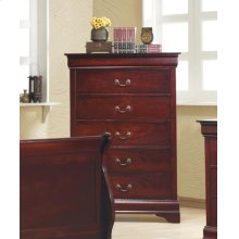 Louis Philippe Red Brown Five-drawer Chest