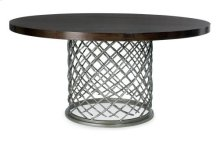 "Hallam Metal Dining Table with Wood Top (60"") in Chocolate"