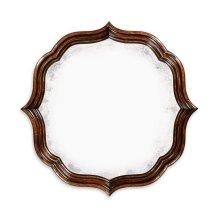 Rustic Walnut Round Antique Mirror