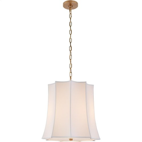 Visual Comfort AH5027NB-PL Alexa Hampton Peter Crown 2 Light 21 inch Natural Brass Hanging Shade Ceiling Light, Alexa Hampton, Crown, Natural Percale Shade