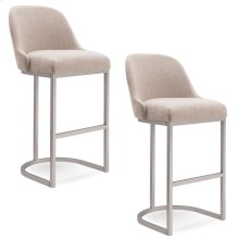 Barrelback Oatmeal Linen Bar Stool with Pewter Metal Base, #10133PW/OL Set of 2