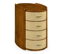 Ivory Shagreen Oval Bedside Chest of Drawers with Brass