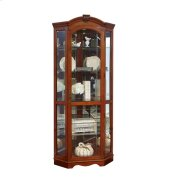 Mirrored Corner Curio Cabinet in Warm Cherry Brown Product Image