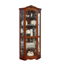 Mirrored Corner Curio Cabinet in Warm Cherry Brown