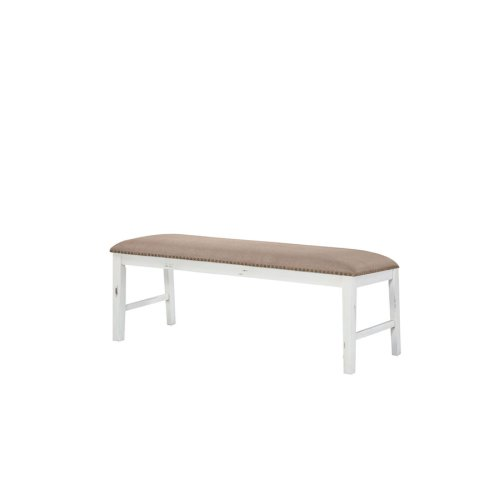 Dining Bench Upholstered-country White W/brown Fabric Seat#506