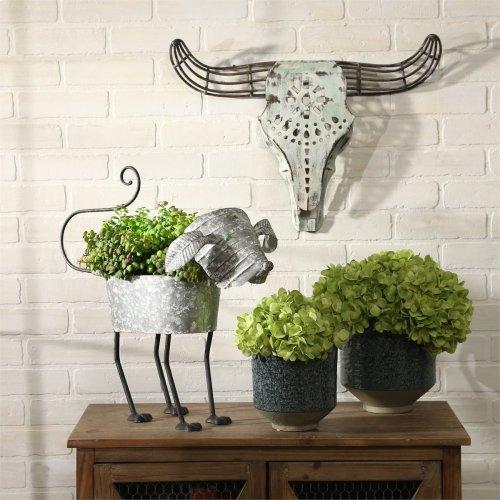 White Metal Bull Skull Wall Sculpture