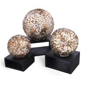 White & Gold Granule Glass Balls(Set of 3)