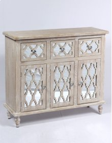 3 Drawer 3 Door Accent Chest-weathered Wood Finish W/mirror Accent Su