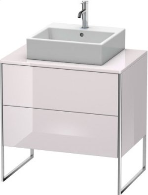 Vanity Unit For Console Floorstanding, White Lilac High Gloss Lacquer