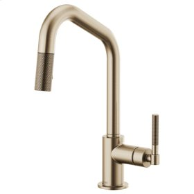 Pull-down Faucet With Angled Spout and Knurled Handle