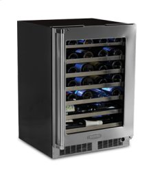 "24"" High Efficiency Single Zone Wine Cellar - Stainless Frame, Glass Door With Lock - Integrated Left Hinge"