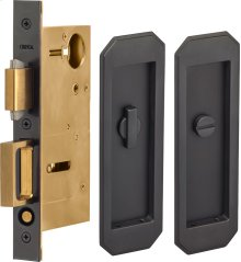 Pocket Door Lock with Traditional Trim featuring Turnpiece and Emergency Release in (US10B Oil-Rubbed Bronze, Lacquered)