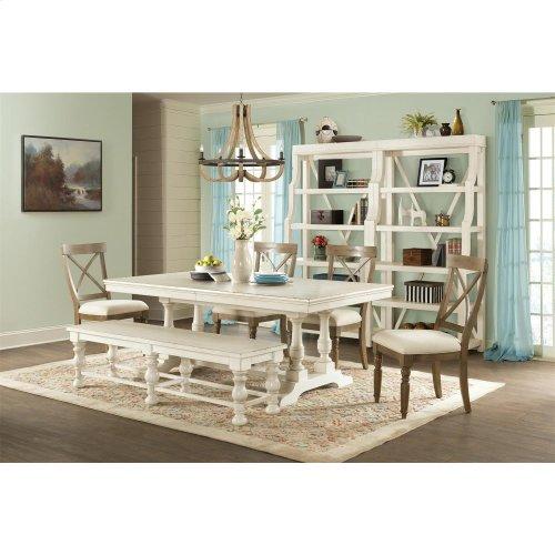 Aberdeen - 80-inch Rectangular Dining Table Base - Weathered Worn White Finish