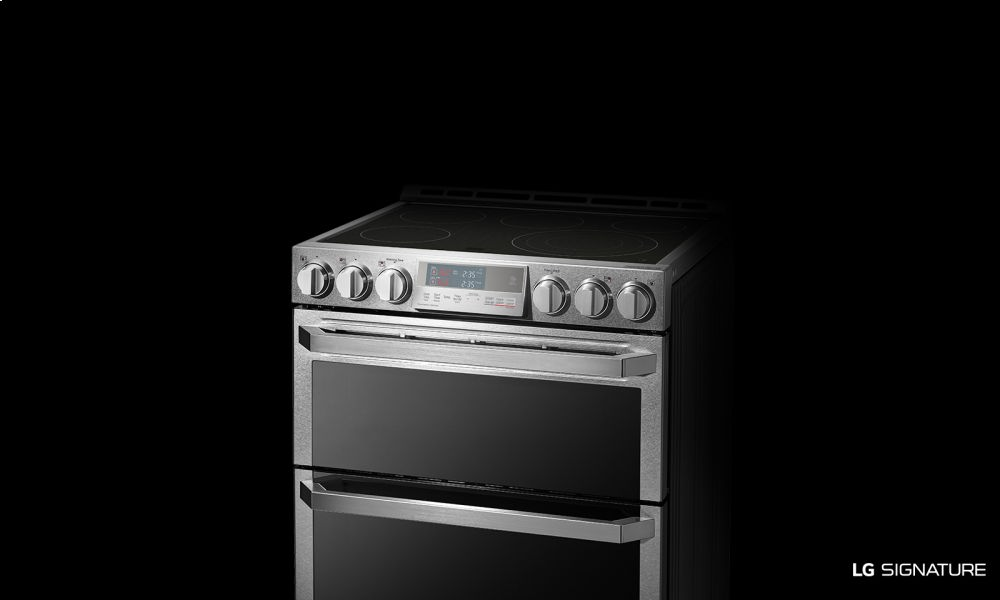 lg signature 7 3 electric double oven slide in range with probake convection lg. Black Bedroom Furniture Sets. Home Design Ideas