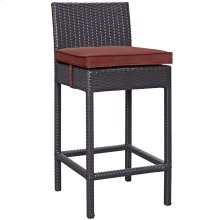 Convene Outdoor Patio Upholstered Fabric Bar Stool in Espresso Currant