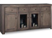 Contempo Sideboard w/2 Wood Doors &2/Center Glass Door &4/Dwrs & 2/Wood & Glass Adjust.