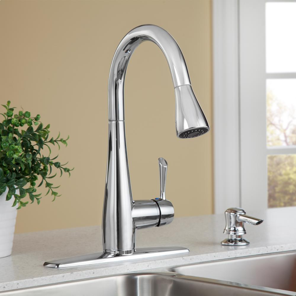 Hidden · Additional Olvera 1 Handle High Arc Pull Down Kitchen Faucet With  Soap Dispenser   Polished Chrome