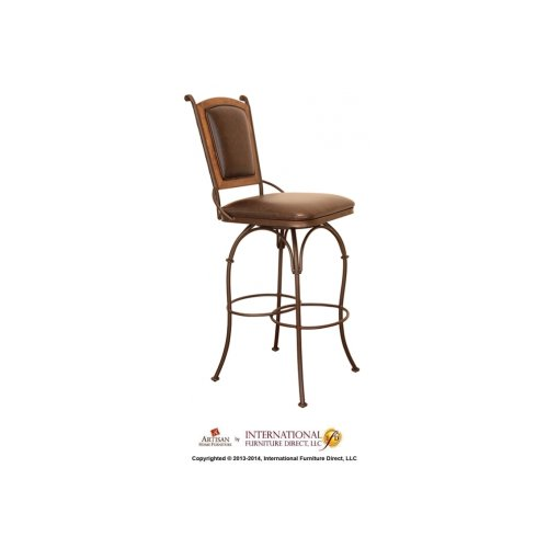 """24"""" Swivel Barstool w/Arms - Pine wood frame on Back, with Faux Leather seat & back"""