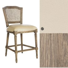 Lamont Oak Ethan Counter Stool in Leather/Cane Back