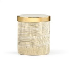 Woven Gold Canister with Satin Gold Accent Finish