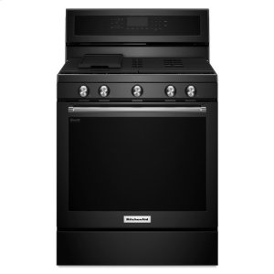 KitchenAid® 30-Inch 5-Burner Gas Convection Range - Black Product Image