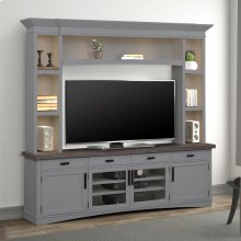 Americana Modern Dove 92 in. TV Console with Hutch with LED Lights