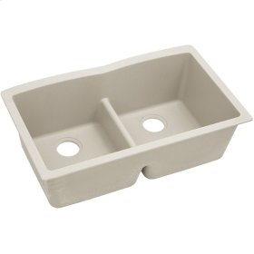 "Elkay Quartz Classic 33"" x 19"" x 10"", Equal Double Bowl Undermount Sink with Aqua Divide, Bisque"
